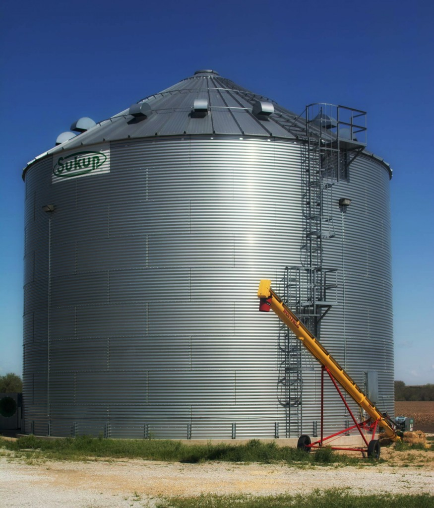 This grain bin holds 55,000 bushels of corn