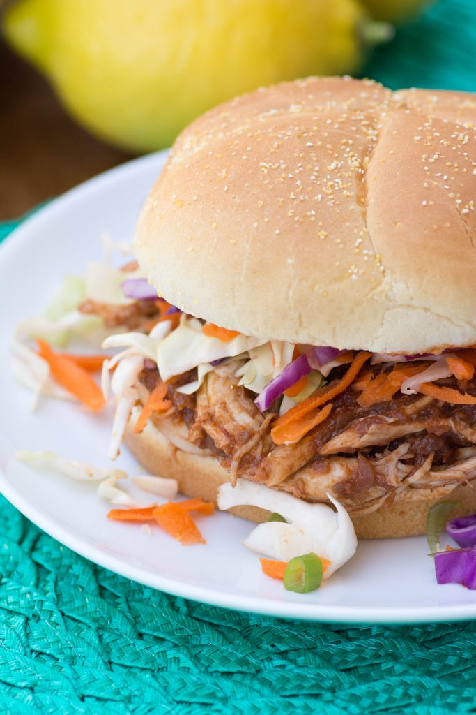 Pulled Chicken Sandwiches with Concord Grape BBQ Sauce from Stirlist.com