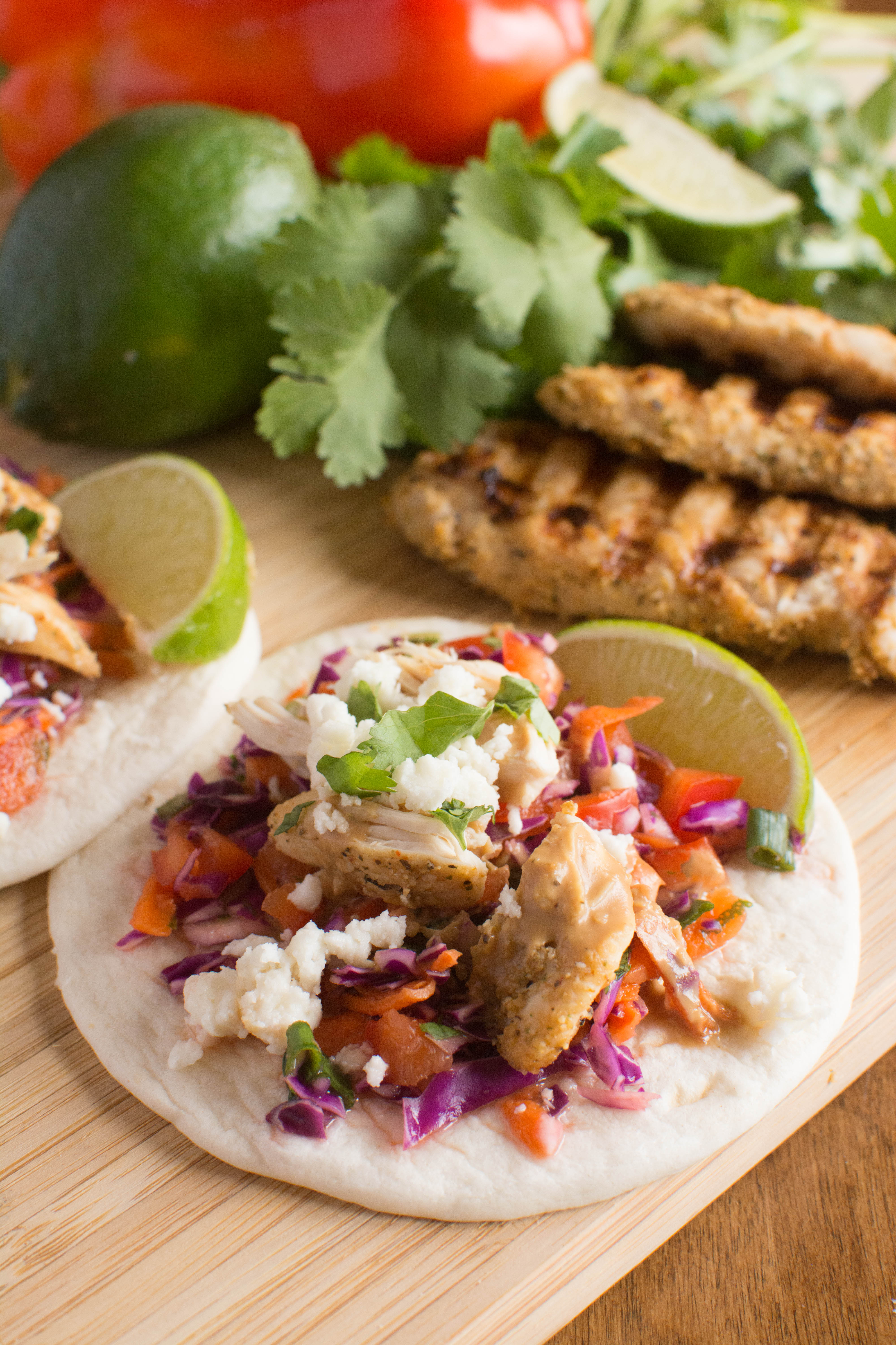 Grilled Chicken Street Tacos with Spicy Peanut Sauce ...