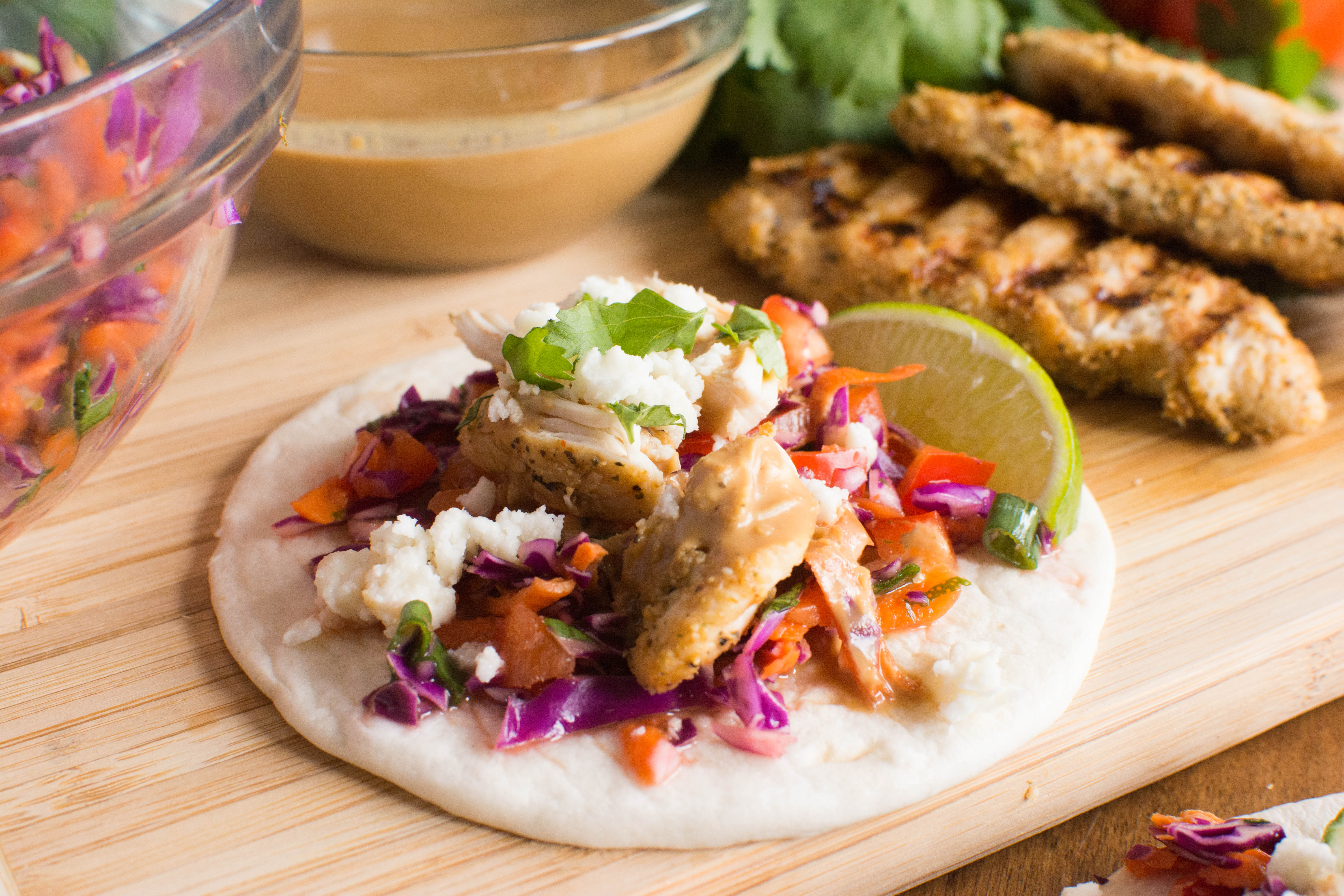Grilled Chicken Street Tacos with Spicy Peanut Sauce