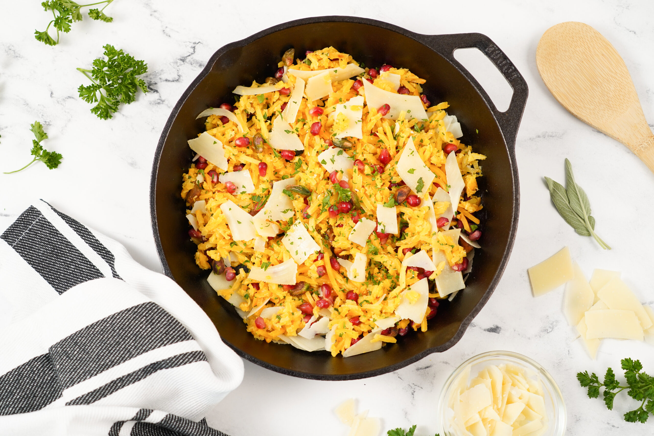 Butternut Squash Noodles with Parmesan and Pomegranate